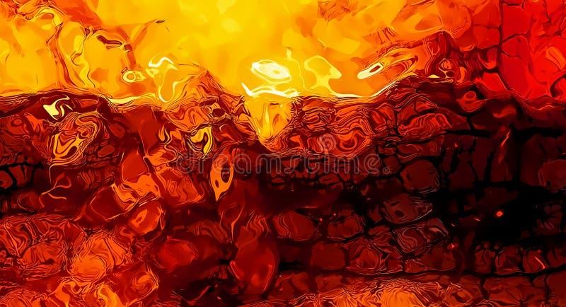 Abstrakcjonistyczna tło grafika, palący ogienia i płomień struktury royalty ilustracja