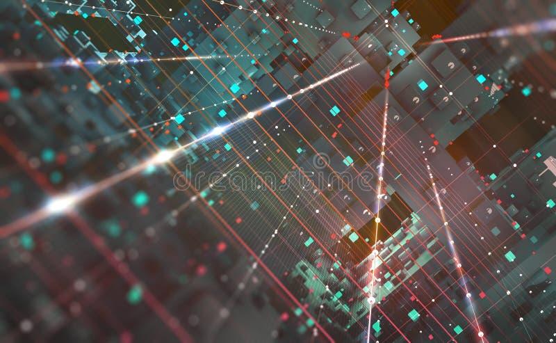 Abstrakcjonistyczna techniki tła 3D ilustracja Kwantowa komputerowa architektura Futurystyczne technologie ilustracja wektor
