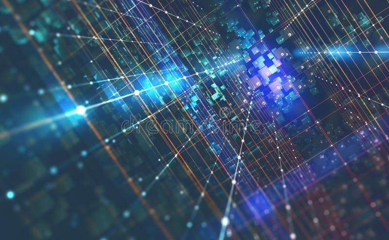 Abstrakcjonistyczna techniki tła 3D ilustracja Kwantowa komputerowa architektura ilustracja wektor