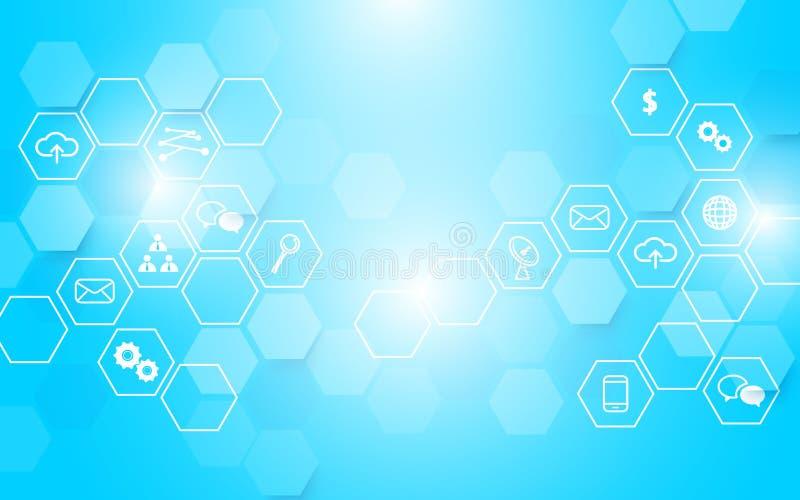 Abstrakcjonistyczna technologia i ikony z sześciokątem na błękitnym rozjarzonym tle ilustracji