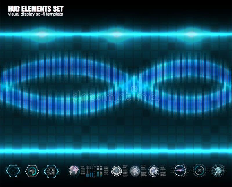 Abstrakcjonistyczna technologia, ui pojęcia hud futurystyczny interfejs, komunikacja, oblicza, DNA, holograma cyfrowi dane elemen ilustracji