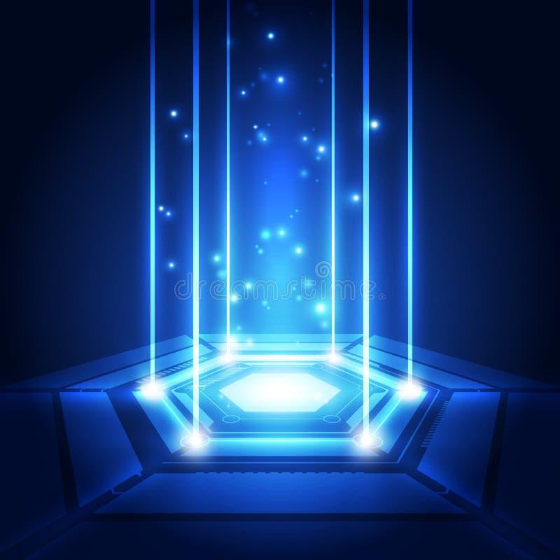Abstrakcjonistyczna technologia zestawu chipów procesoru tła obwodu deska i html kod, 3D technologii tła ilustracyjny błękitny we royalty ilustracja