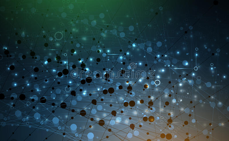 Abstrakcjonistyczna technologii cząsteczka Wirtualny molekuły tło ilustracji