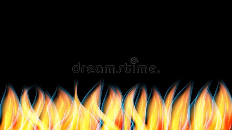 Abstrakcjonistyczna tekstura gorący błyszczący czerwony pomarańczowy palenie ogień, kopia i interliniuje na czarnym tle płomień i ilustracja wektor