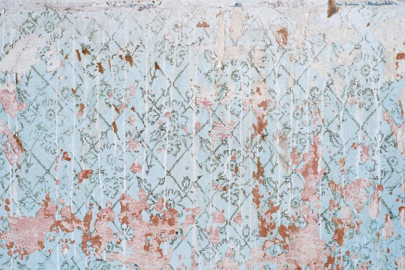Abstrakcjonistyczna tekstura stara błękit ściana przetarta rocznik ściana z plamami biała farba zniszczony tło wally zdjęcie stock