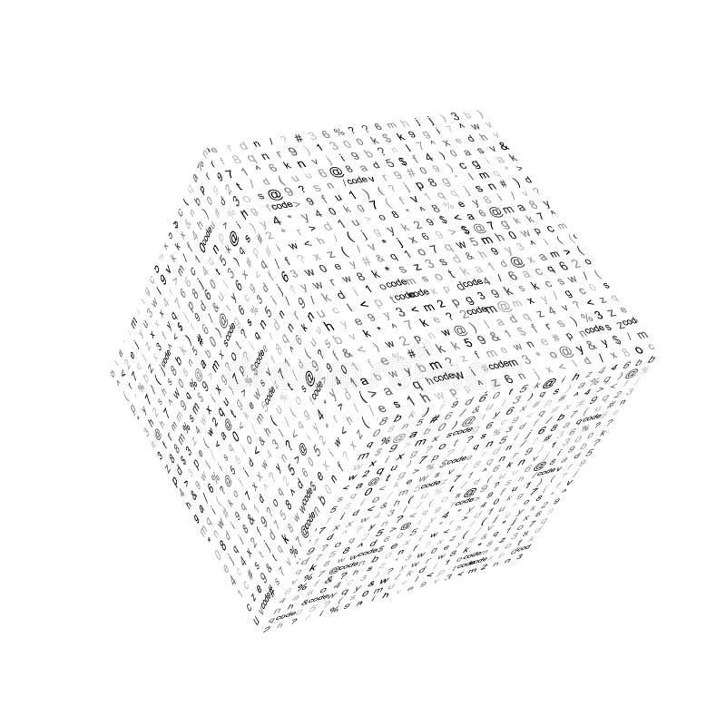 Abstrakcjonistyczna tekstura z cyfrowanie symbolami umieszczającymi na sześcianie popiera kogoś Wektorowa technologii ilustracja royalty ilustracja