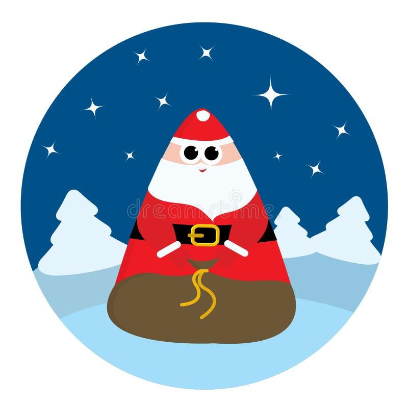 abstrakcjonistyczna torba Claus Santa ilustracja wektor