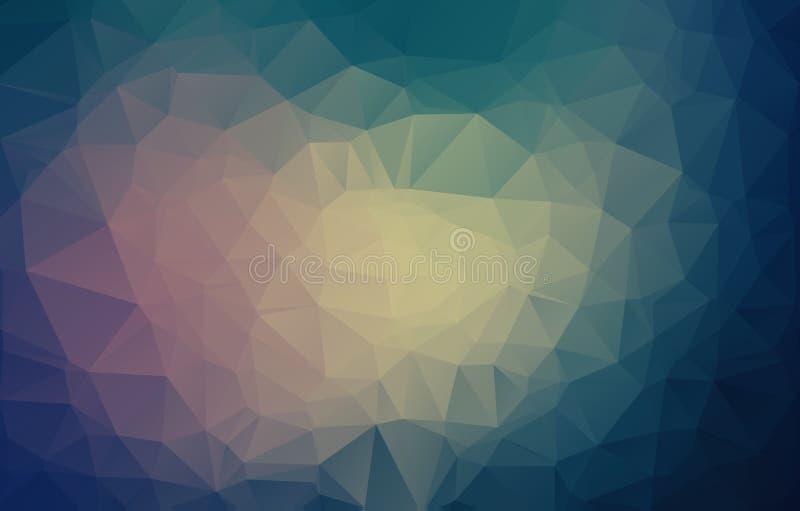Abstrakcjonistyczna trójbok sztuka w pastelowych kolorach - eps10 Abstrakcjonistycznej Błękitnej marynarki wojennej mozaiki ciemn royalty ilustracja