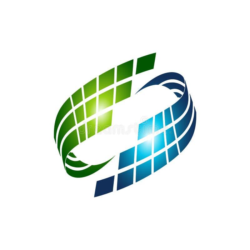 Abstrakcjonistyczna trandy krzywa w swoosh stylizuje, wektoru i logo desi, ilustracji