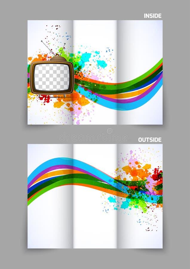 Abstrakcjonistyczna trifold broszurka z tv ilustracji