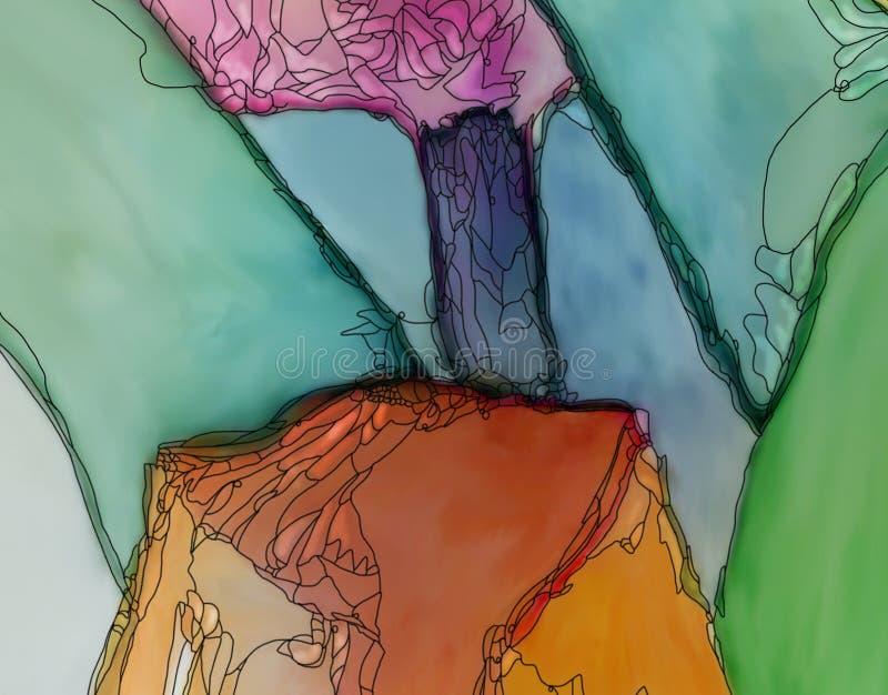 Abstrakcjonistyczna tulipan grafiki pomarańcze i menchie ilustracja wektor