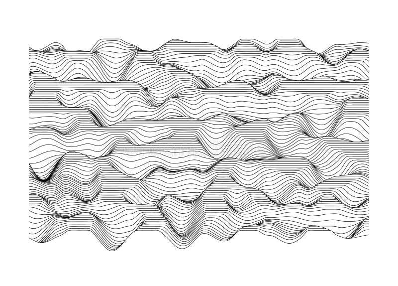 Abstrakcjonistyczna wektor powierzchnia Krajobraz robić linie Powierzchnia robić sekcje royalty ilustracja