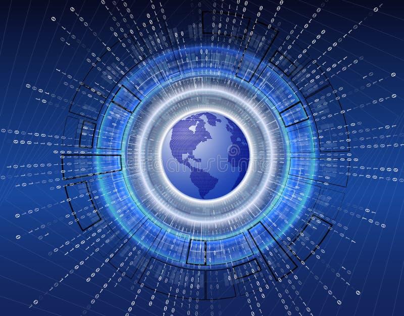 Abstrakcjonistyczna wektor prędkości interneta technologia z 3d planety ziemi tła ilustracją cześć ilustracji