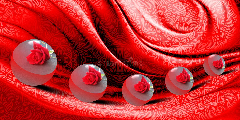 Abstrakcjonistyczna wektorowa czerwień cienił falistego textured tło z ruchami 3 d boll z teksturą, wektorowa ilustracja ilustracji