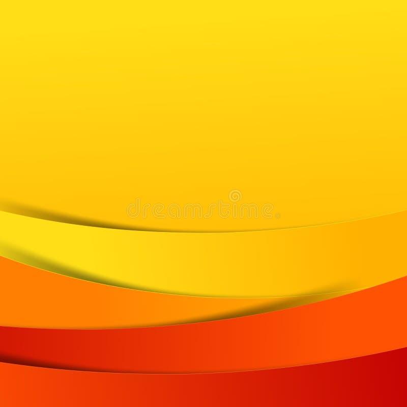 Abstrakcjonistyczna wektorowa czerwona pomarańczowego koloru żółtego tła nasunięcia warstwa i ilustracja wektor