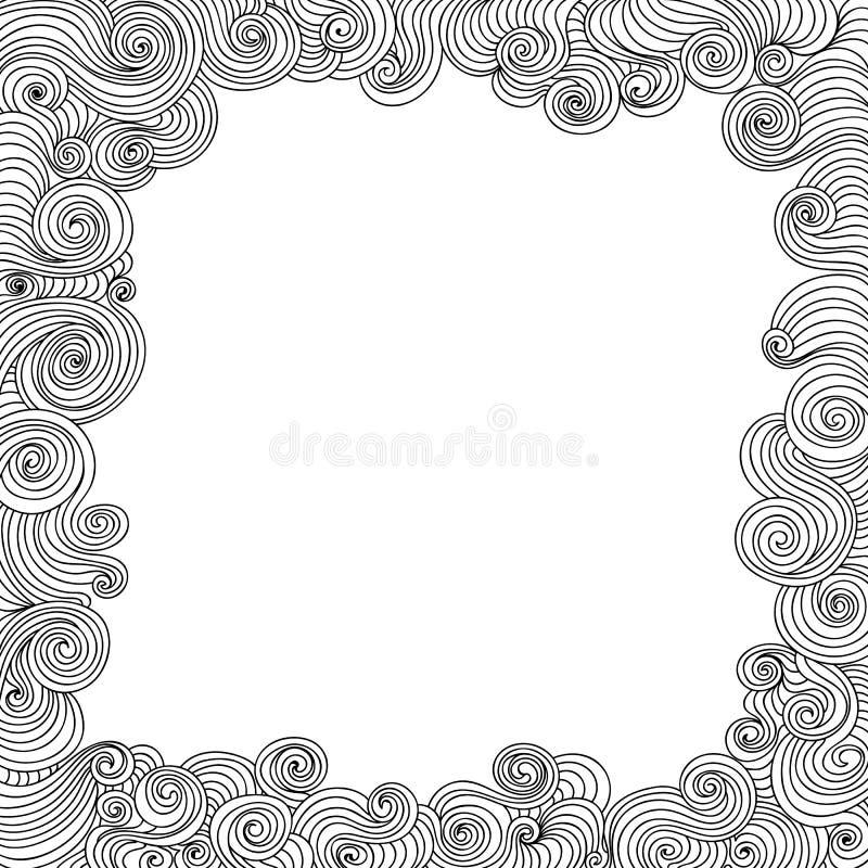 Abstrakcjonistyczna wektorowa dekoracyjna rama z fryzowanie liniami ilustracji
