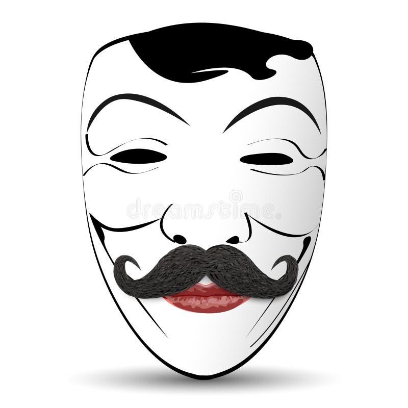 Download Abstrakcjonistyczna Wektorowa Ilustraci Maska Z Wąsy Ilustracja Wektor - Ilustracja złożonej z śmieszny, humor: 53780136