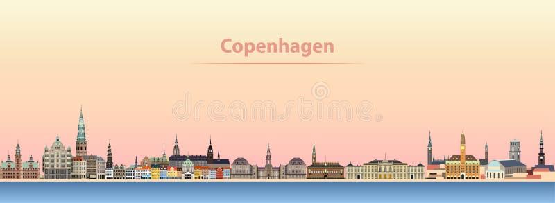 Abstrakcjonistyczna wektorowa ilustracja Kopenhaga miasta linia horyzontu przy wschodem słońca royalty ilustracja