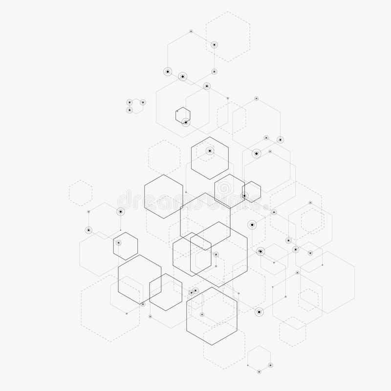 Abstrakcjonistyczna wektorowa ilustracja z sześciokątami, liniami i kropkami na białym tle, Sześciokąt Infographic Technologia Cy royalty ilustracja