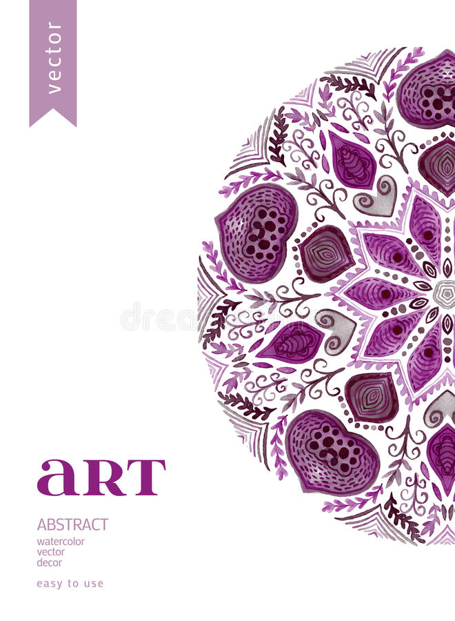 Abstrakcjonistyczna Wektorowa Kwiecista Ornamentacyjna granica Koronkowy deseniowy projekt Akwarela ornament na błękitnym tle Wek ilustracja wektor