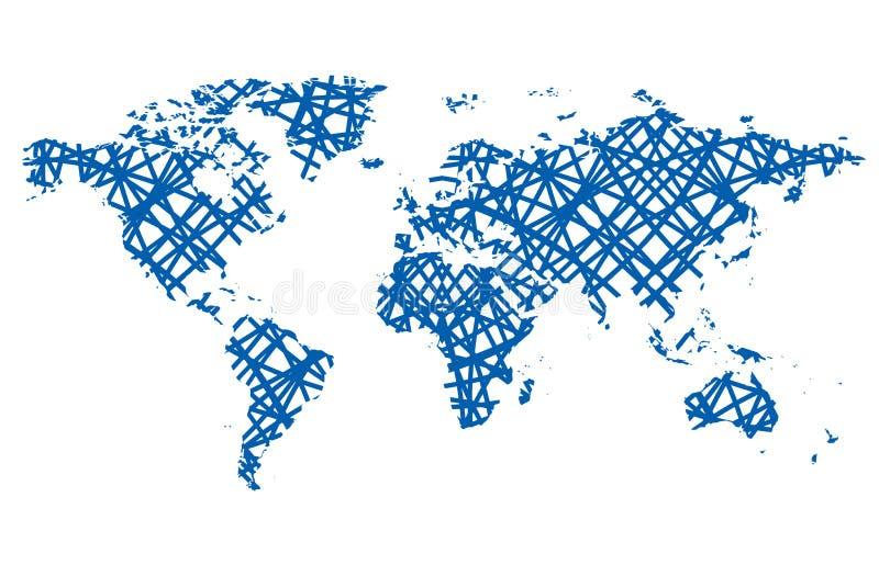 Abstrakcjonistyczna wektorowa mapa świat - niebieskie linie royalty ilustracja