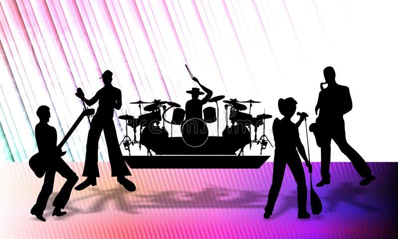 Abstrakcjonistyczna wektorowa muzykalna grupa przedstawia program na scenie, wektorowa ilustracja