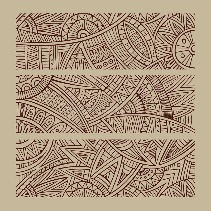 Abstrakcjonistyczna wektorowa ręka rysujący etniczni sztandary royalty ilustracja