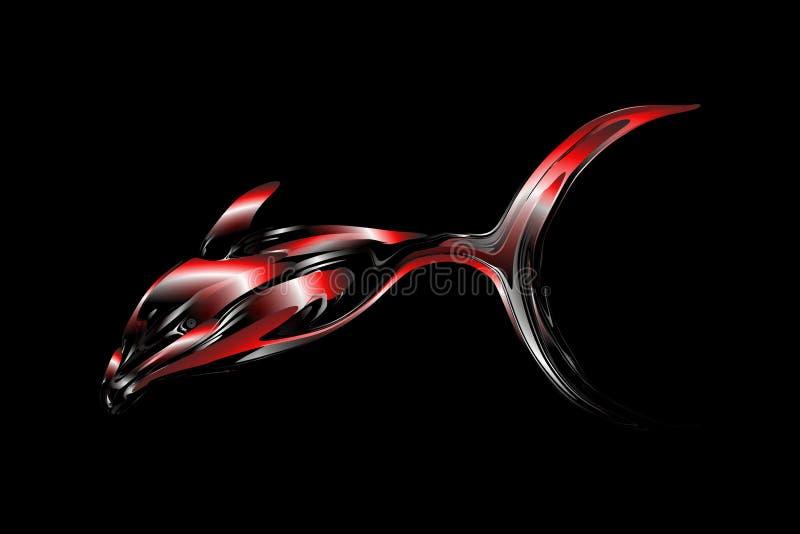 Abstrakcjonistyczna wektorowa stubarwna ryba z 3d skutka tłem z oświetleniowym skutkiem, wektorowa ilustracja