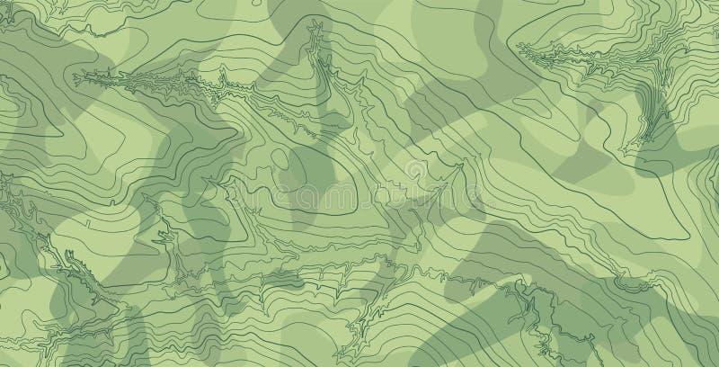 Abstrakcjonistyczna wektorowa topograficzna mapa w zielonych kolorach ilustracja wektor