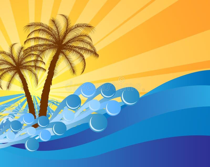 Abstrakcjonistyczna wyspa teksta rama z drzewkami palmowymi ilustracji
