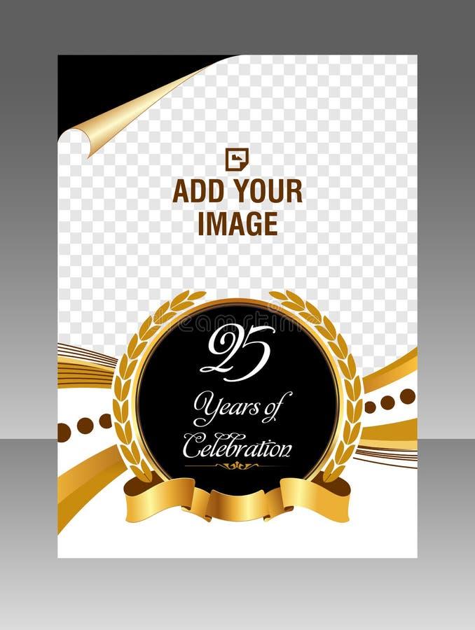 Abstrakcjonistyczna złota świętowanie układu ulotka, wektorowy szablon zdjęcia royalty free