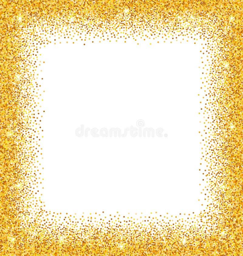 Abstrakcjonistyczna Złota rama z Błyska na Białym tle royalty ilustracja