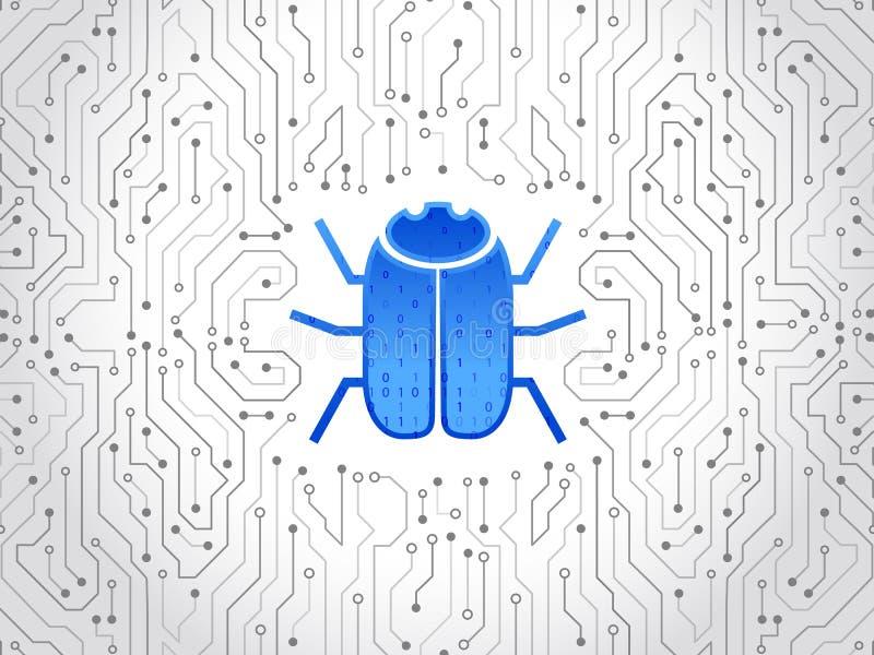 Abstrakcjonistyczna zaawansowany technicznie obwód deska z hacker pluskwą Siekać i cyber przestępstwo royalty ilustracja