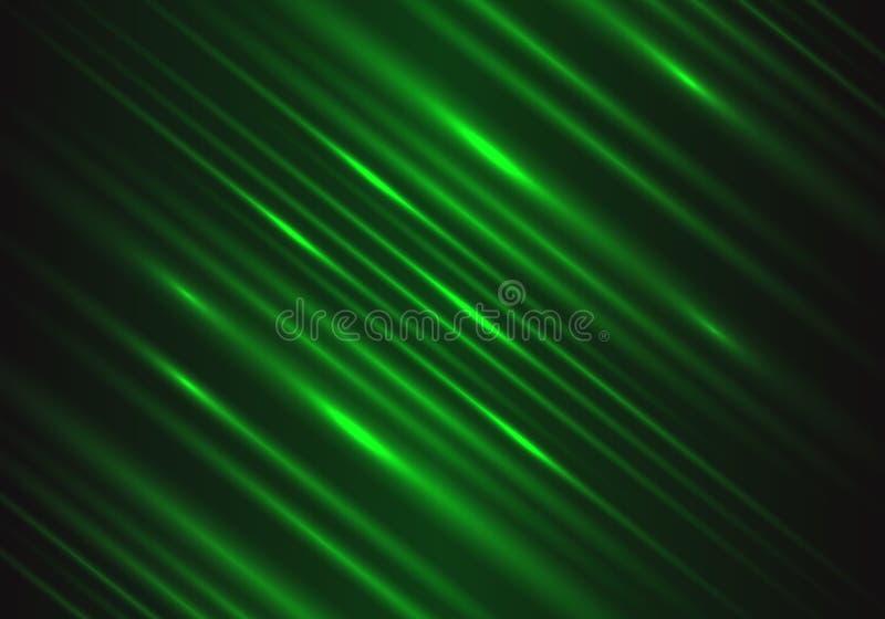 Abstrakcjonistyczna zielone światło prędkości władzy technologii energia na czarnym futurystycznym tło wektorze royalty ilustracja