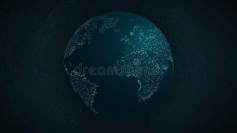 abstrakcjonistyczna ziemska planeta Błękitna mapa ziemia od kwadratowych punktów Być może niebieski blask Zaawansowany techniczni royalty ilustracja