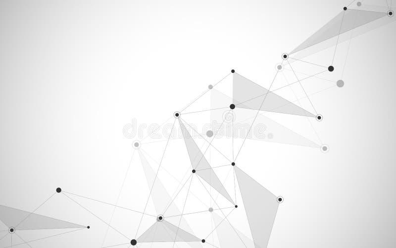 Abstrakcjonistyczne łączy kropki i linie Podłączeniowy nauka i technika tło również zwrócić corel ilustracji wektora ilustracja wektor