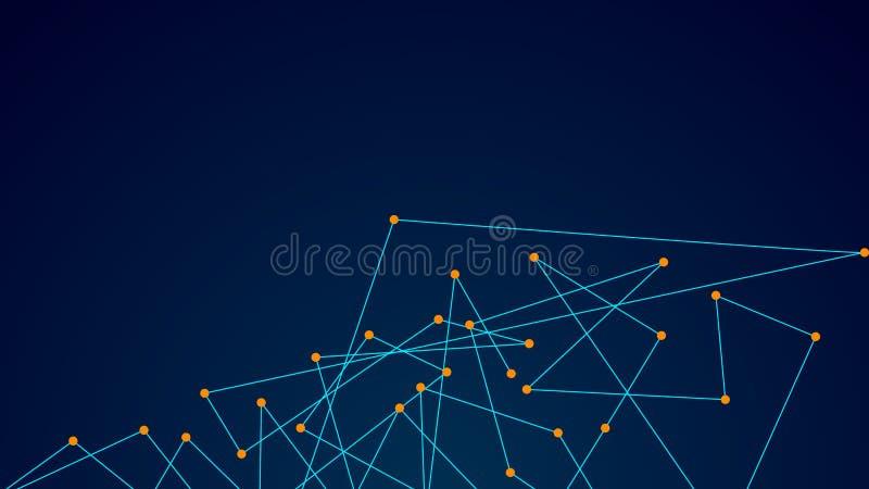 Abstrakcjonistyczne łączy kropki i linie Podłączeniowy technologii nauki tło royalty ilustracja