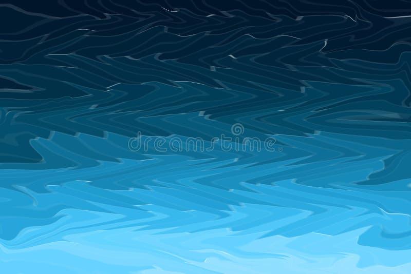 Abstrakcjonistyczne błękit krzywy fala textured nowożytnego tło Ocean lub denne burz fala ilustracji