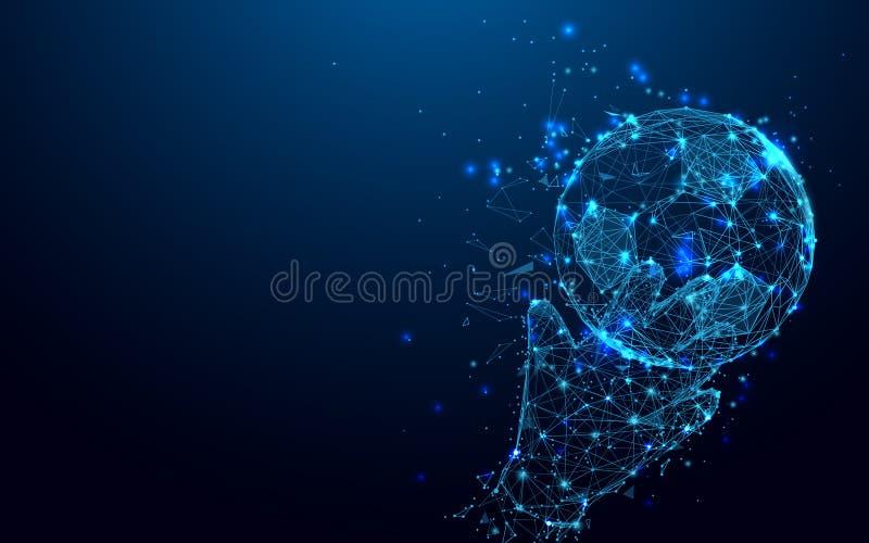 Abstrakcjonistyczne bramkarz ręki łapie piłki formę wykładają i trójboki, punkt złączona sieć na błękitnym tle ilustracji