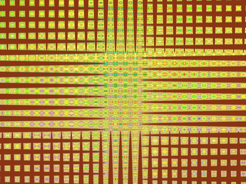 Abstrakcjonistyczne brown żółtych linii geometrie, figlarnie geometrii tło, grafika, abstrakcjonistyczny tło i tekstura, royalty ilustracja