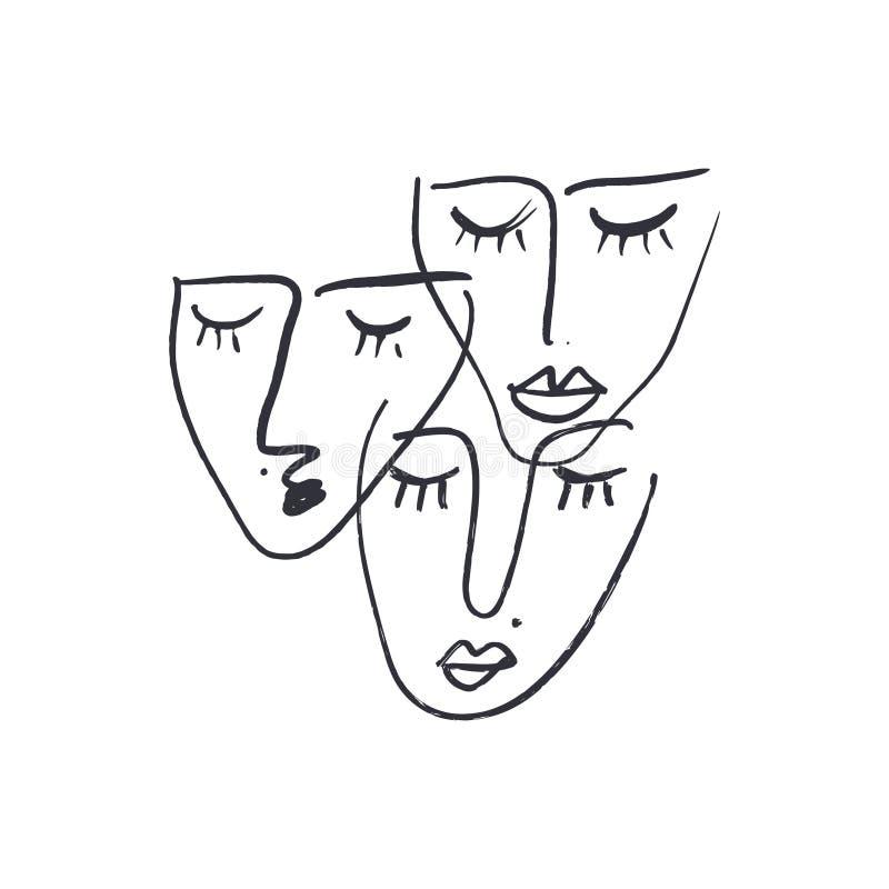 Abstrakcjonistyczne ciągłe jeden kreskowego rysunku twarze również zwrócić corel ilustracji wektora ilustracja wektor