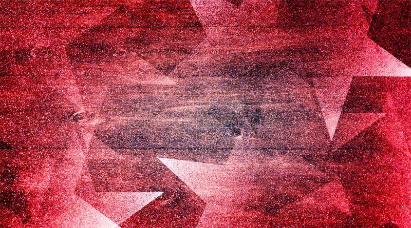 Abstrakcjonistyczne czerwieni menchie i popielaty tło cieniący paskowali wzór i bloki w diagonalnych liniach z rocznik czerwienią fotografia stock