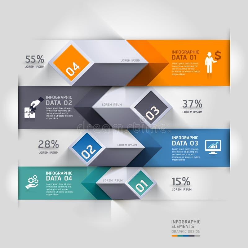 Abstrakcjonistyczne 3d diagrama infographics opcje. royalty ilustracja