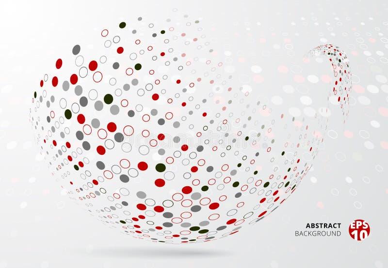 Abstrakcjonistyczne 3d halftone kropki tupoczą czerwień, czerń i szarość barwią opakunek royalty ilustracja