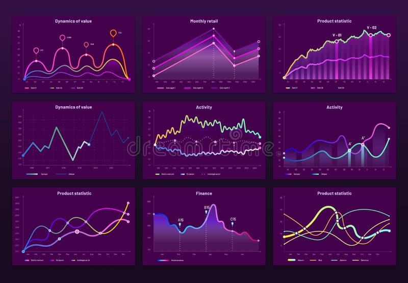 Abstrakcjonistyczne dane mapy Statystyczni wykresy, finansowa kreskowa mapa i marketingu histograma wykresu wektoru infographic s royalty ilustracja