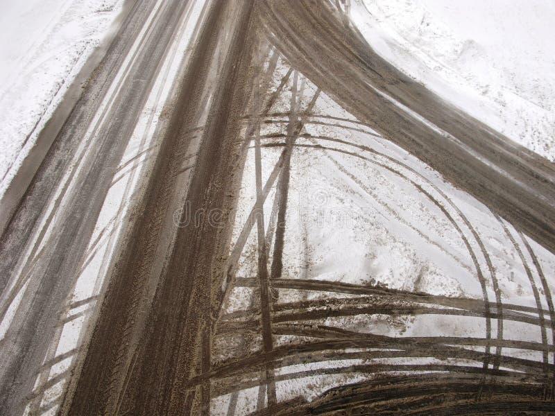 Abstrakcjonistyczne drogi skrzyżowanie w zimie obrazy stock