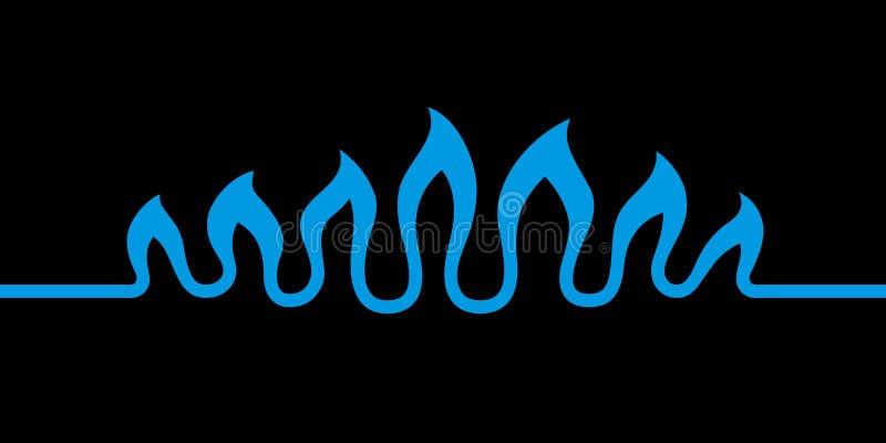 Abstrakcjonistyczne fale płomień Stylizowanego błękita ogienia płonący gaz naturalny odizolowywający na czarnym tle Nowożytny kre ilustracja wektor