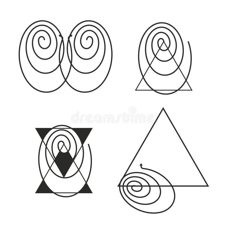 Abstrakcjonistyczne geometrical formy z ślimakowatym kształtem 10 eps ilustracyjny osłony wektor ilustracja wektor
