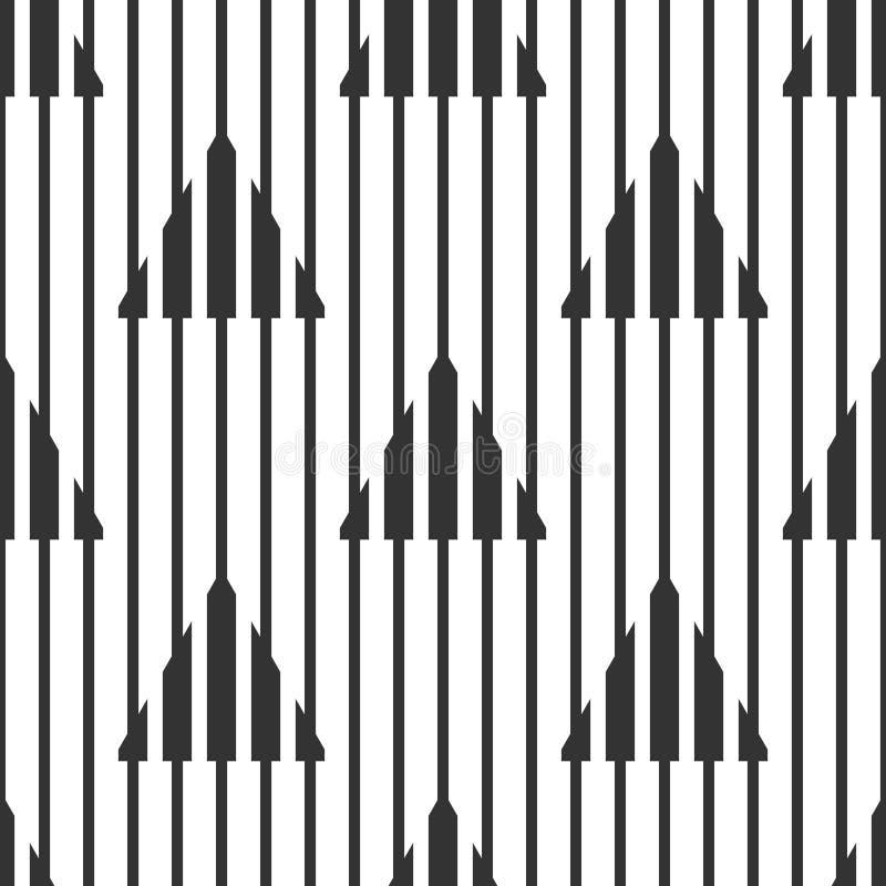 Abstrakcjonistyczne geometryczne czarny i biały wzoru, wąskich i szerokich linie, trójboki Bezszwowy tło ilustracji
