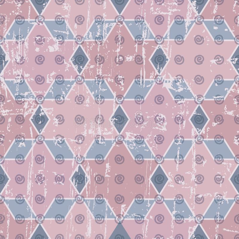 Abstrakcjonistyczne geometryczne gwiazdy, diamenty, spirale i sześciokąt powtórki wzoru bezszwowy tło z przetartym rocznikiem, wy ilustracja wektor